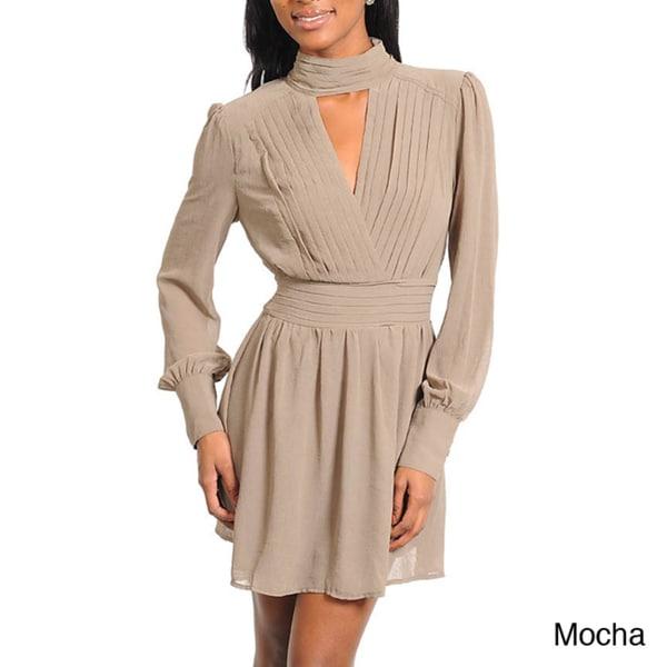 Stanzino Women's Long Sleeve Mini Dress with Peep Neckline