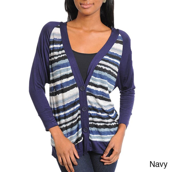 Stanzino Women's Striped Long Sleeve Cardigan