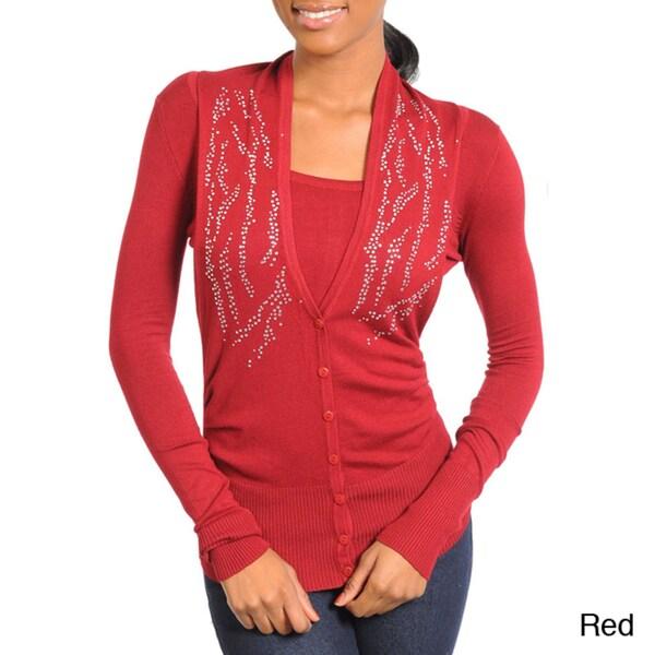 Stanzino Women's Rhinestone-embellished Long Sleeve Cardigan