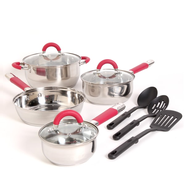 Gibson Red 10-piece Stainless Steel Cookware Set