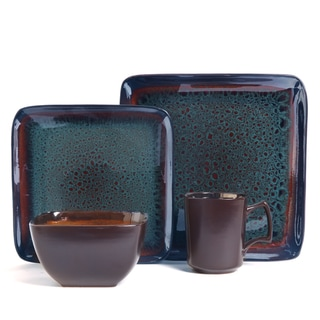 Kenzo Square Reactive Glaze 16-piece Dinnerware Set