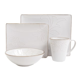 Gibson 'Florence Garden' 16-piece Rectangular Dinnerware Set