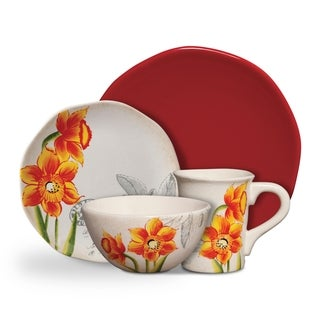 Gibson Botanical Charm Orange Floral 16-piece Dinnerware Set