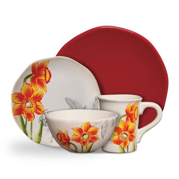 Gibson Botanical Charm Orange Floral 16-piece Dinnerware Set