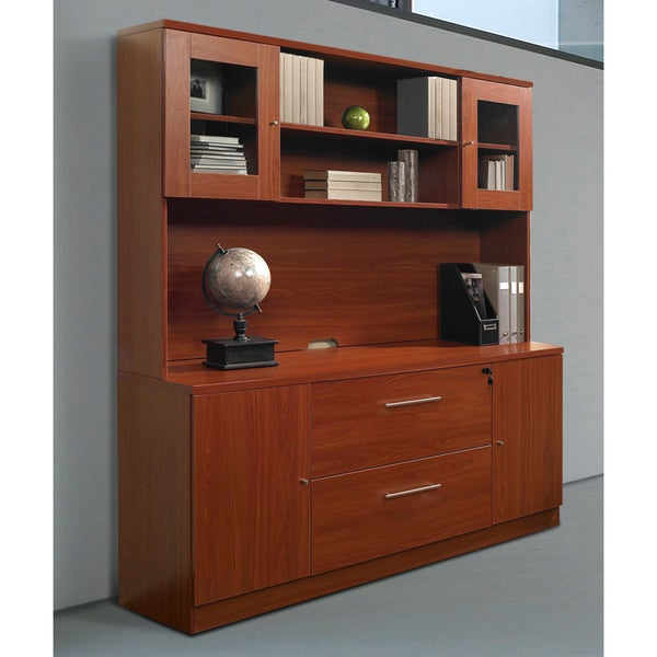 Cherry Storage Credenza with Hutch