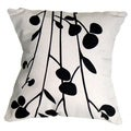 Handwoven Cotton Black Print on Natural Pillow Cover (India)