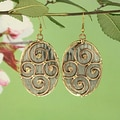 Handcrafted Brass and Copper Swirls on Textured Steel Dangle Earrings (India)