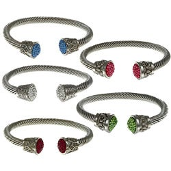 Inox Stainless Steel Colored Crystal Cable Cuff Bracelet