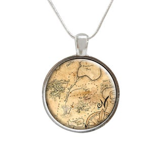 Hand Drawn Map of the World Glass Pendant and Necklace