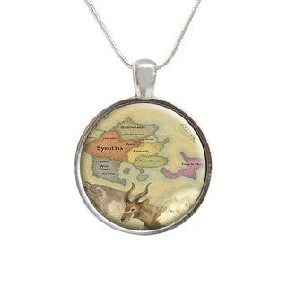 Map of the World Compass Glass Pendant and Necklace