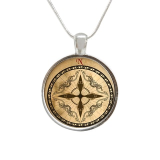 Vintage Style Compass Glass Pendant and Necklace