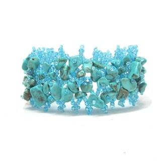 Turquoise Blue Beaded Weave Cuff Bracelet