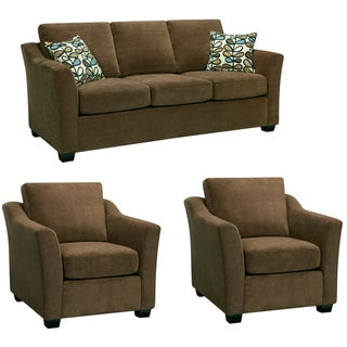 Larson Cocoa Brown Sofa and Two Chairs