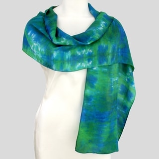 Gypsy River Riches Hand-Dyed Washable &#39;Neptune&#39; Silk Scarf