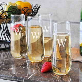 Personalized Stemless Champagne Flutes (Set of 4)