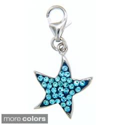 Sterling Silver Colored Crystal Starfish Necklace