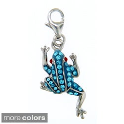 Sterling Silver Colored Crystal Frog Necklace
