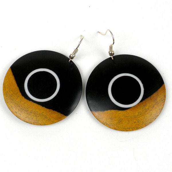 Two Tone Blackwood White Band Earrings (Mozambique)