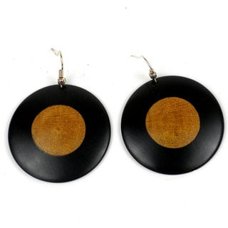 Handcrafted Blackwood Teak Inlaid Earrings (Mozambique)