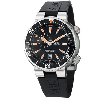 Oris Men's 743 7609 8454 RS 'TT1 Diver' Black Dial Black Rubber Strap Automatic Watch