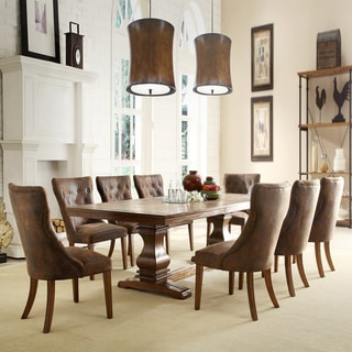 TRIBECCA HOME Atelier Traditional French Burnished Brown Pedestal 9-piece Dining Set