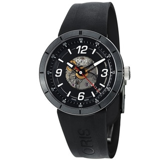 Oris Men's 'TT1' Black Skeleton Dial Black Rubber Strap Watch