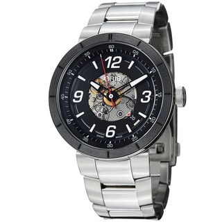 Oris Men&#39;s &#39;TT1&#39; Black Skeleton Dial Stainless Steel Automatic Watch