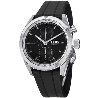 Oris Men's 'Artix' Black Dial Black Rubber Strap Chronograph Watch