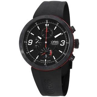 Oris Men's 'TT1' Black Dial Black Rubber Strap Chronograph Watch