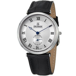 Grovana Men's Silver Dial Black Leather Strap Quartz Watch