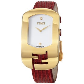 Fendi Women's 'Chameleon' White Diamond Dial Red Leather-strap Swiss Quartz Watch