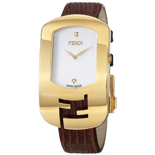 Fendi 'Chameleon' White-diamond-dial Brown-leather-strap Quartz Watch