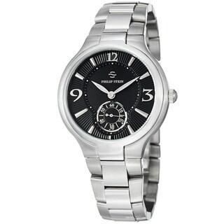 Philip Stein Men's 43-MB-SS 'Novelties' Black Dial Stainless Steel Quartz Watch