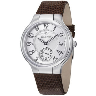Philip Stein Women's 'Novelties' Silver Dial Brown Leather Strap Watch