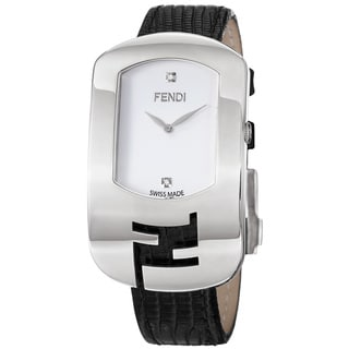 Fendi Women's 'Chameleon' White Diamond Dial Black Leather Strap Watch