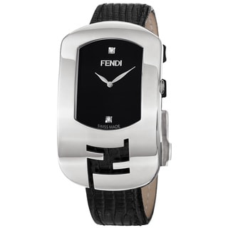 Fendi Women's 'Chameleon' Black Diamond Dial Black Leather Strap Watch