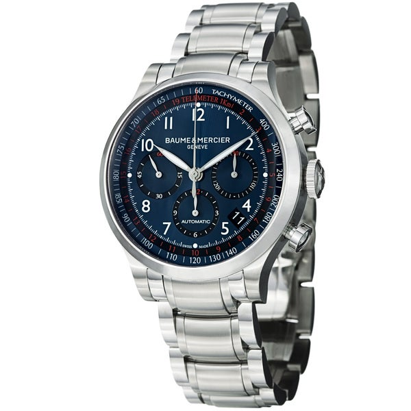 Baume & Mercier Men's 'Capeland' Blue Dial Chronograph Steel Watch