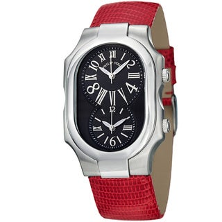 Philip Stein Women's 'Signature' Black Dial Red Leather Strap Watch