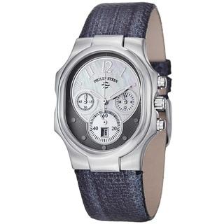 Philip Stein Women's 'Signature' Navy Metallic Leather Strap Watch