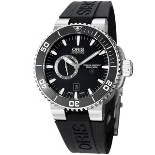 Oris Men's 'Aquis' Black Dial Black Rubber Automatic Titanium Watch