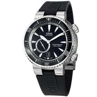 Oris Men's 'TT1 Diver' Black Dial Black Rubber Strap Titanium Watch