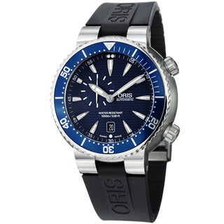 Oris Men's 'TT1 Diver' Blue Dial Black Rubber Strap Automatic Watch