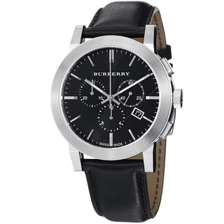 Burberry Women's 'Large Check' Black Dial Chronograph Quartz Watch