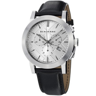 Burberry Women's 'Large Check' Silver Dial Chronograph Strap Watch