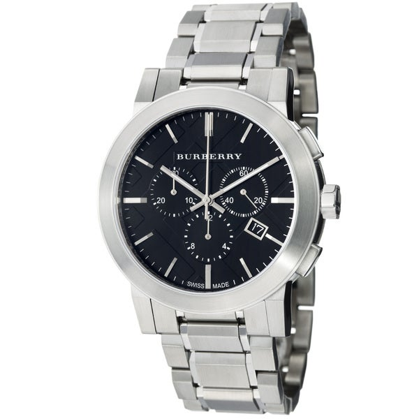 Burberry Women's 'Large Check' Black Dial Stainless Steel Watch
