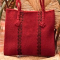Handcrafted Wool 'Zapotec Red' Medium Tote Handbag (Mexico)