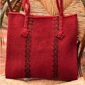 Handcrafted Wool 'Zapotec Red' Medium Tote Handbag (Mexico)