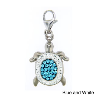Sterling Silver Colored Crystal Turtle Necklace