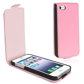 BasAcc Light Pink Leather Flip Case for Apple iPhone 5/ 5S