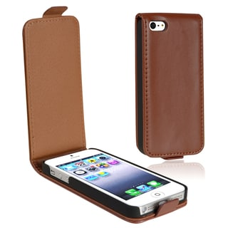 BasAcc Brown Leather Flip Case for Apple iPhone 5/ 5S